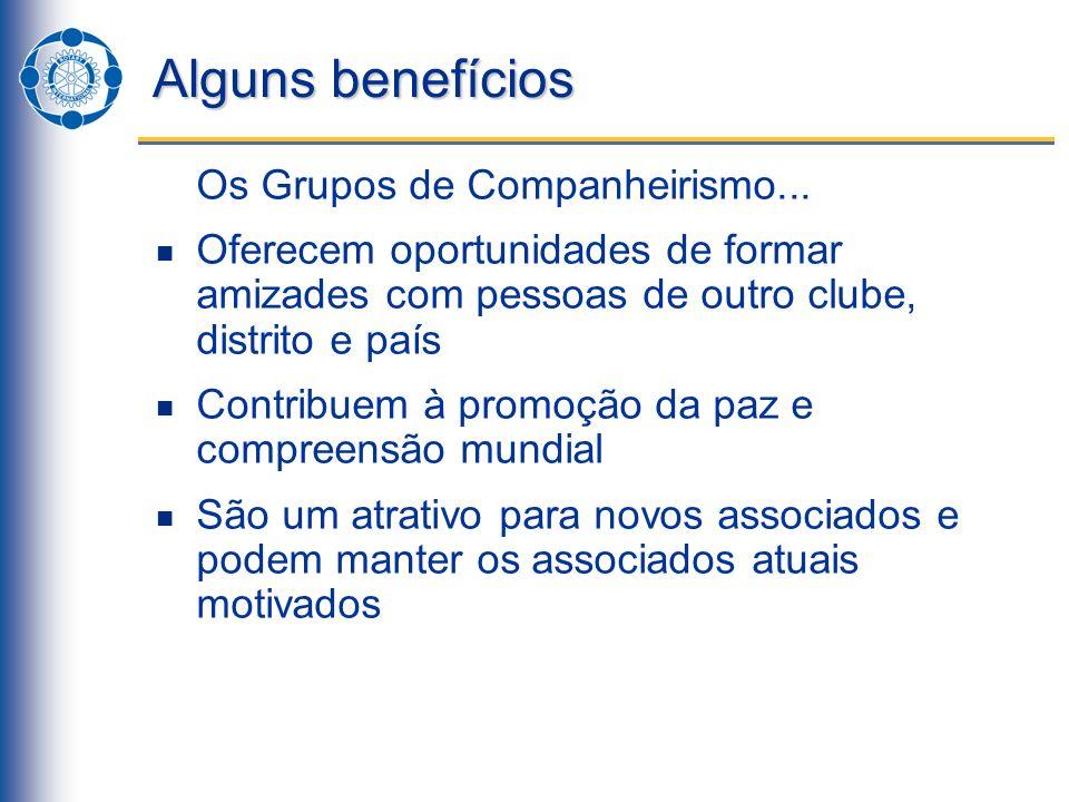 Alguns benefícios Os Grupos de Companheirismo...