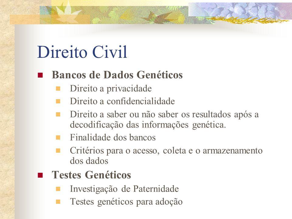 Direito Civil Bancos de Dados Genéticos Testes Genéticos