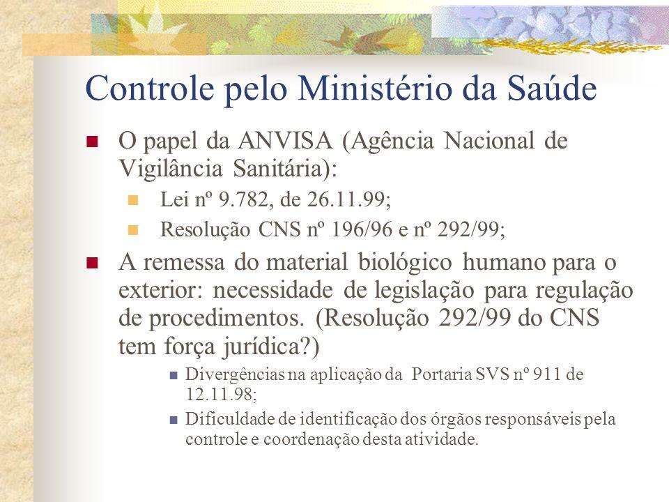 Controle pelo Ministério da Saúde