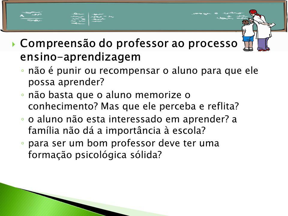 Compreensão do professor ao processo ensino-aprendizagem