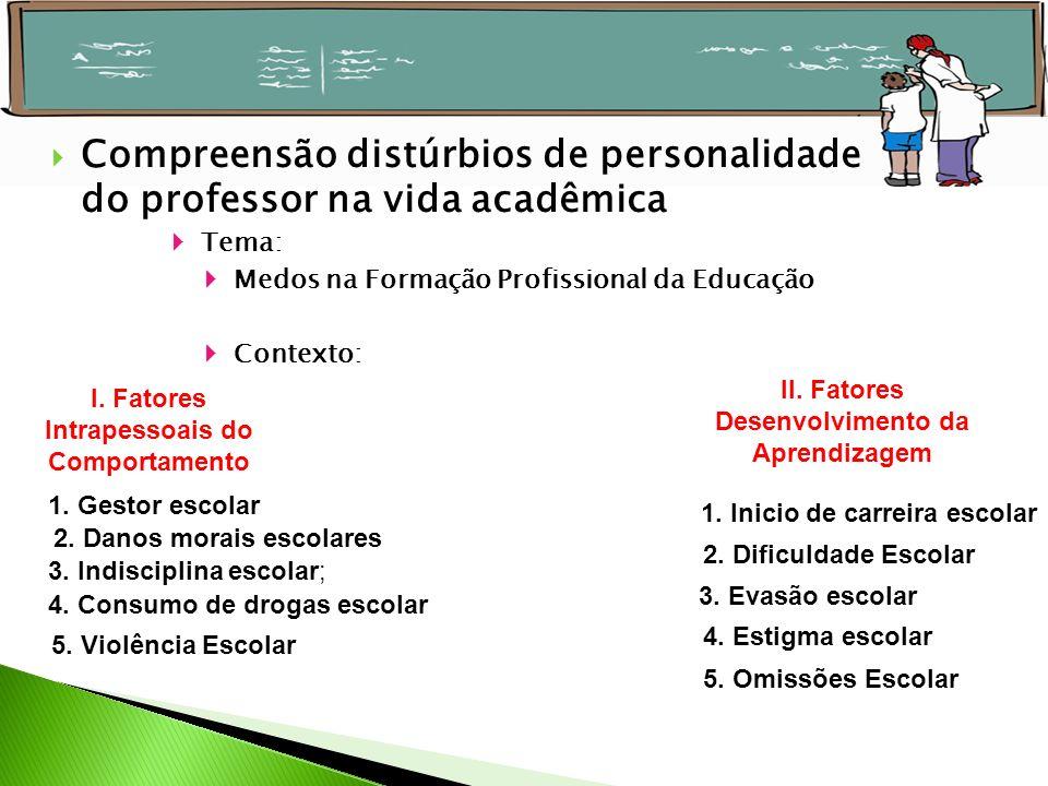 Compreensão distúrbios de personalidade do professor na vida acadêmica