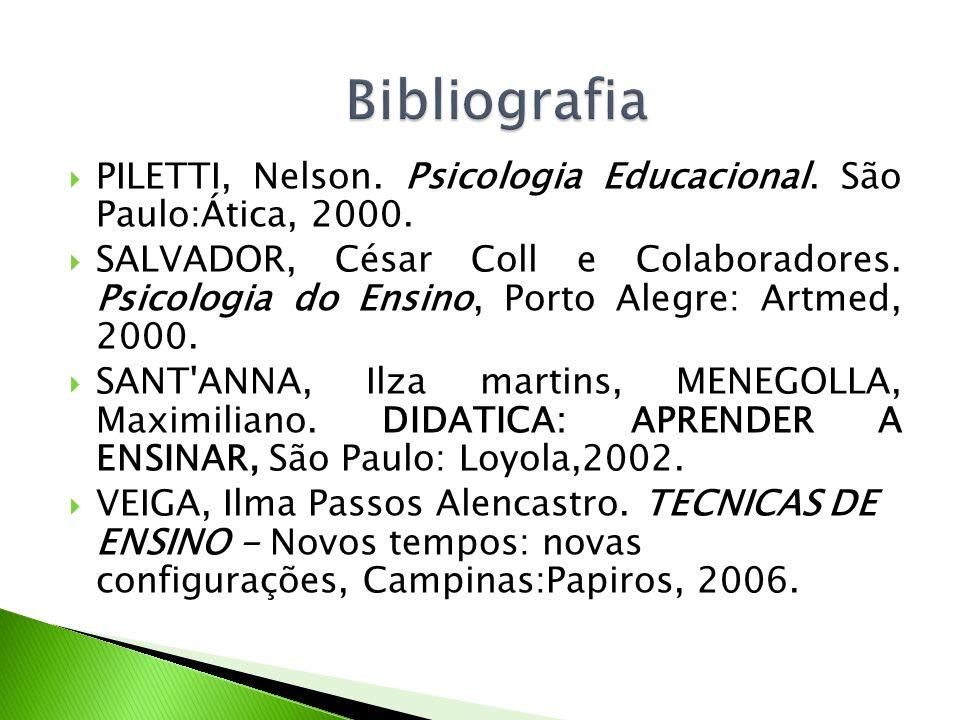 BibliografiaPILETTI, Nelson. Psicologia Educacional. São Paulo:Ática, 2000.