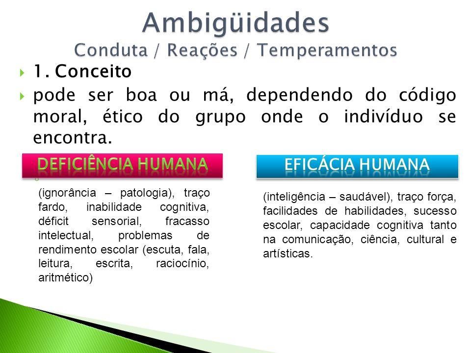 Ambigüidades Conduta / Reações / Temperamentos