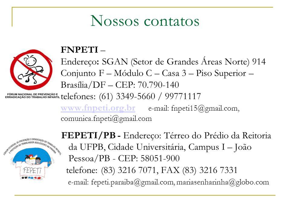 Nossos contatos FNPETI –
