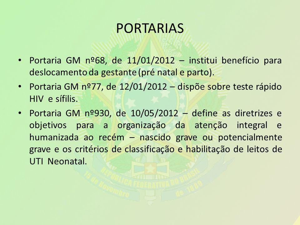 PORTARIAS Portaria GM nº68, de 11/01/2012 – institui benefício para deslocamento da gestante (pré natal e parto).