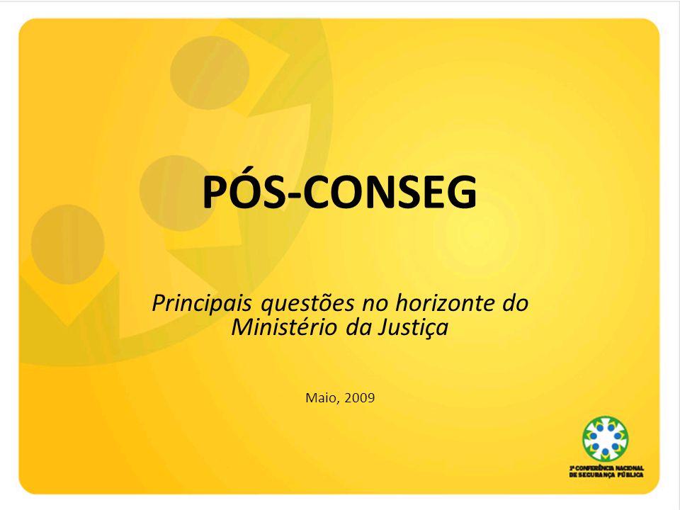 Principais questões no horizonte do Ministério da Justiça Maio, 2009