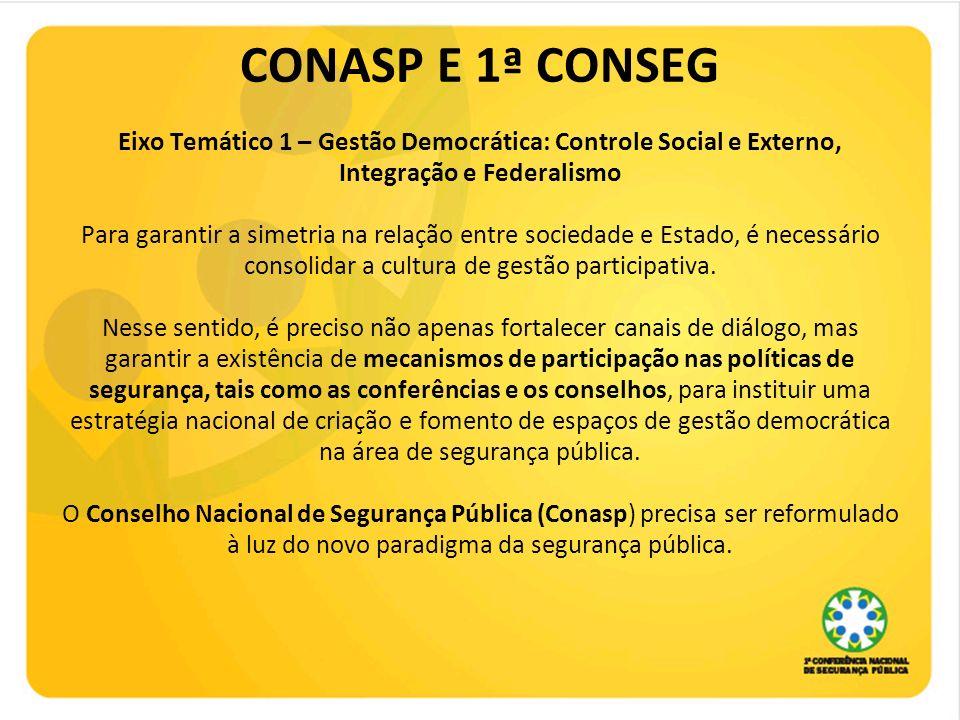 CONASP E 1ª CONSEG Eixo Temático 1 – Gestão Democrática: Controle Social e Externo, Integração e Federalismo Para garantir a simetria na relação entre sociedade e Estado, é necessário consolidar a cultura de gestão participativa.