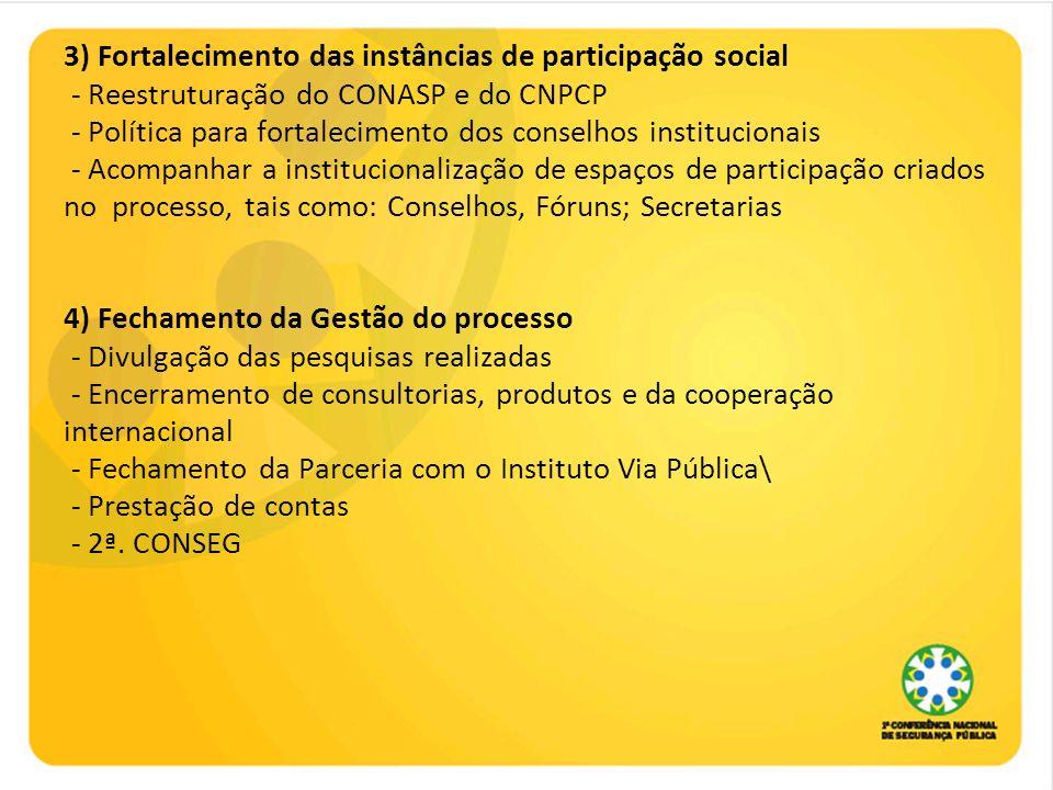 3) Fortalecimento das instâncias de participação social - Reestruturação do CONASP e do CNPCP - Política para fortalecimento dos conselhos institucionais - Acompanhar a institucionalização de espaços de participação criados no processo, tais como: Conselhos, Fóruns; Secretarias 4) Fechamento da Gestão do processo - Divulgação das pesquisas realizadas - Encerramento de consultorias, produtos e da cooperação internacional - Fechamento da Parceria com o Instituto Via Pública\ - Prestação de contas - 2ª.