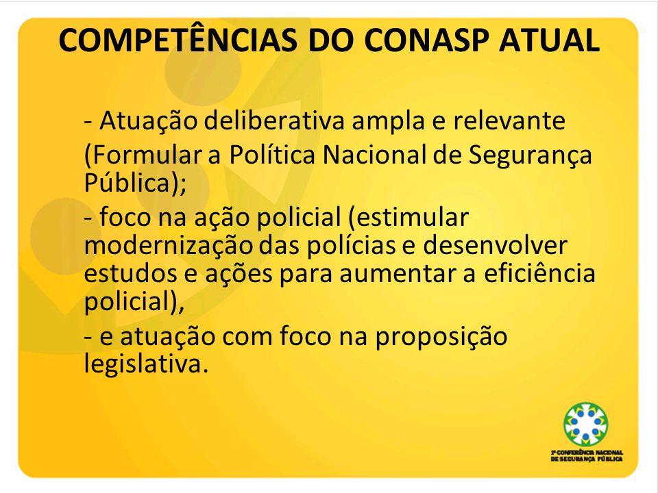 COMPETÊNCIAS DO CONASP ATUAL