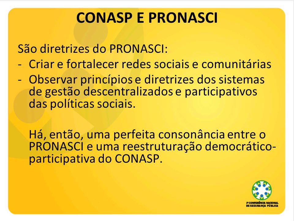 CONASP E PRONASCI São diretrizes do PRONASCI: