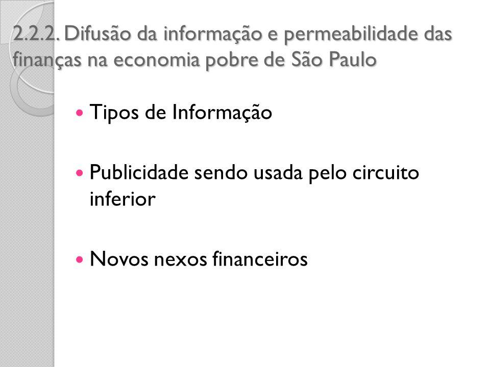 2.2.2. Difusão da informação e permeabilidade das finanças na economia pobre de São Paulo