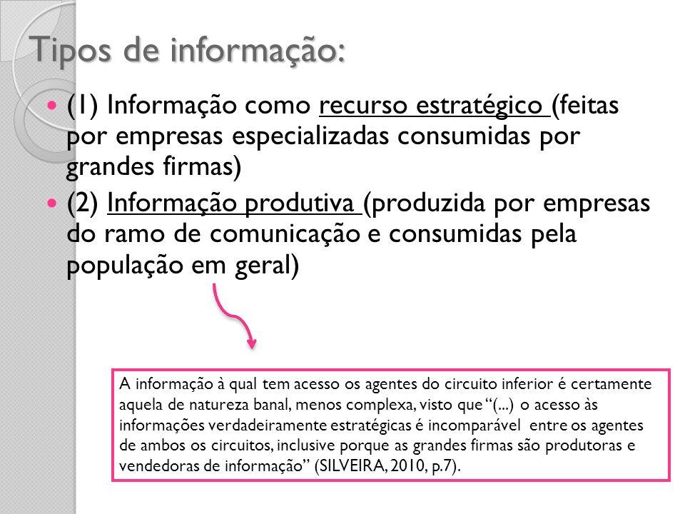 Tipos de informação: (1) Informação como recurso estratégico (feitas por empresas especializadas consumidas por grandes firmas)