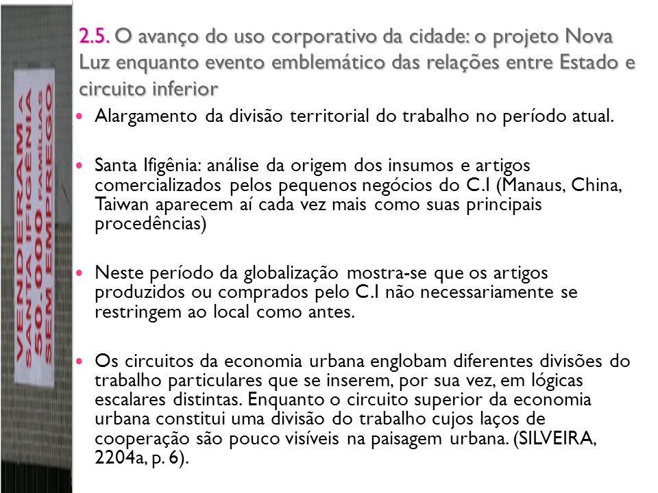 2.5. O avanço do uso corporativo da cidade: o projeto Nova Luz enquanto evento emblemático das relações entre Estado e circuito inferior