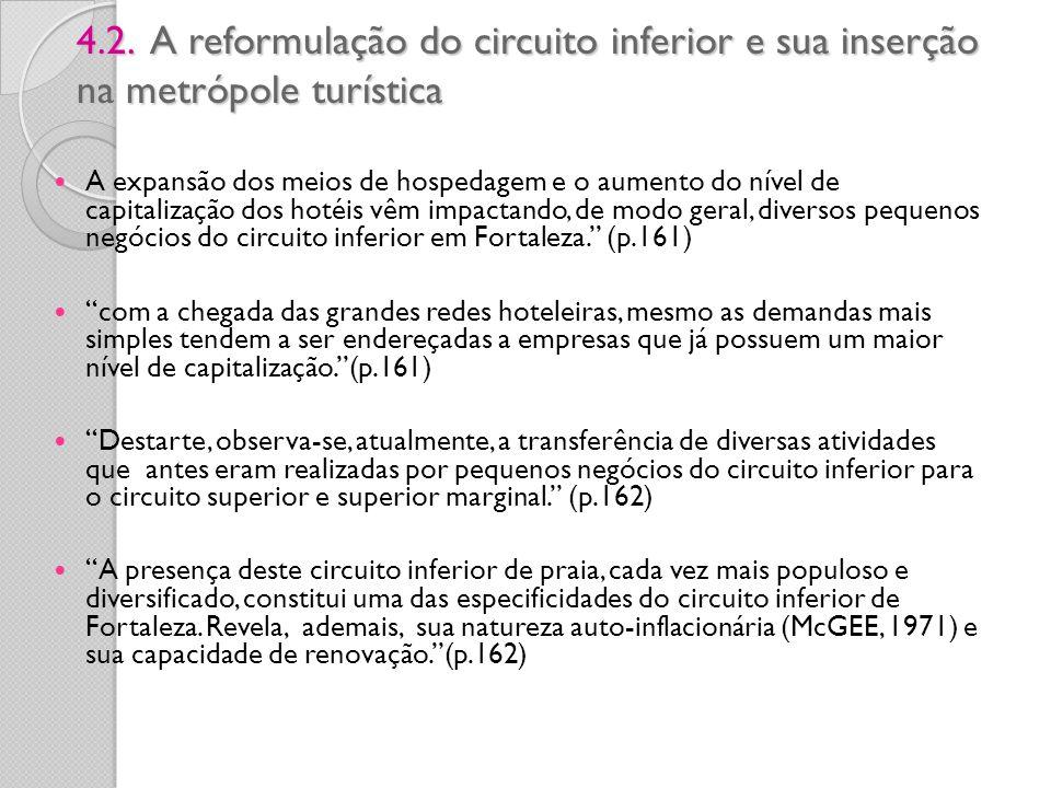 4.2. A reformulação do circuito inferior e sua inserção na metrópole turística