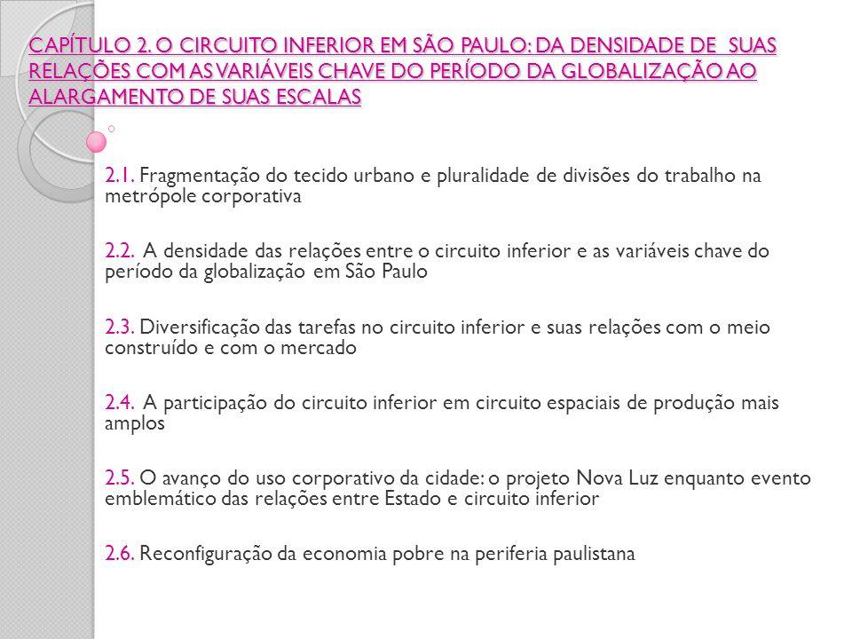 CAPÍTULO 2. O CIRCUITO INFERIOR EM SÃO PAULO: DA DENSIDADE DE SUAS RELAÇÕES COM AS VARIÁVEIS CHAVE DO PERÍODO DA GLOBALIZAÇÃO AO ALARGAMENTO DE SUAS ESCALAS