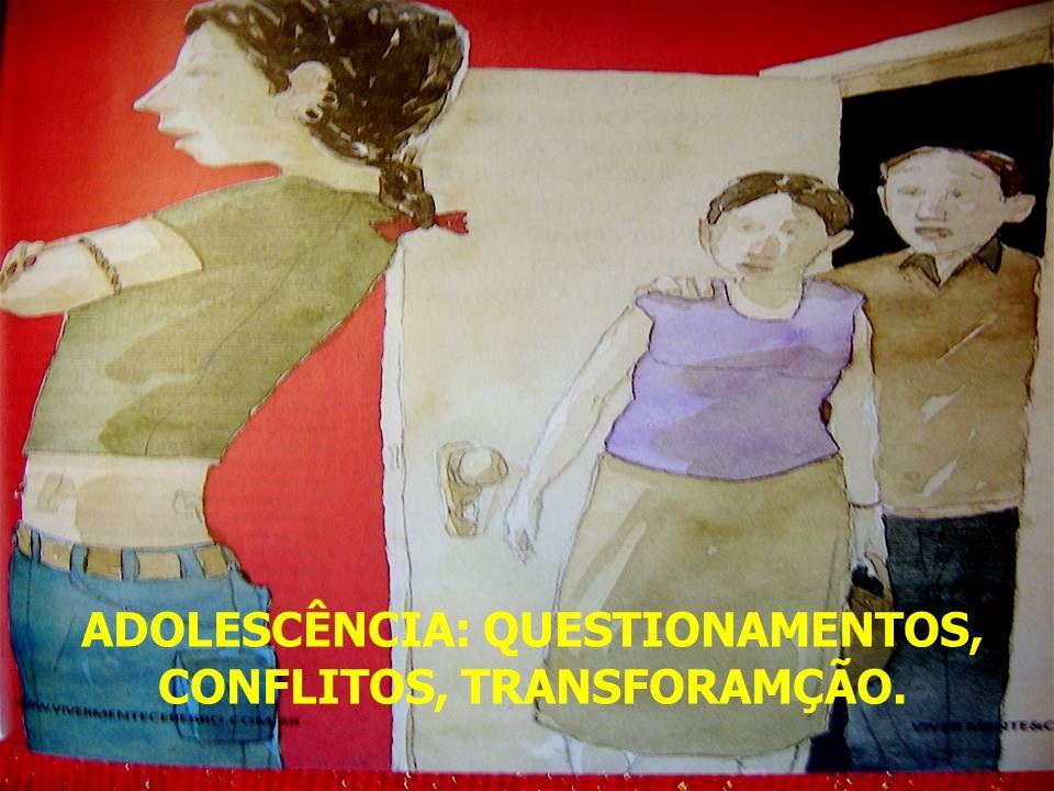 ADOLESCÊNCIA: QUESTIONAMENTOS, CONFLITOS, TRANSFORAMÇÃO.