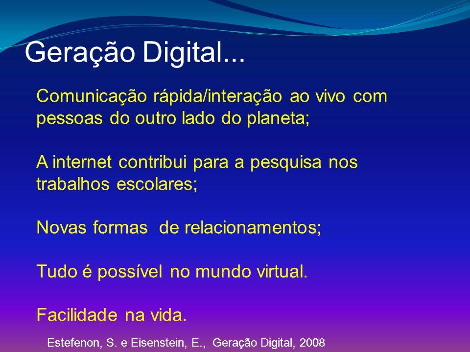Geração Digital... Comunicação rápida/interação ao vivo com pessoas do outro lado do planeta;