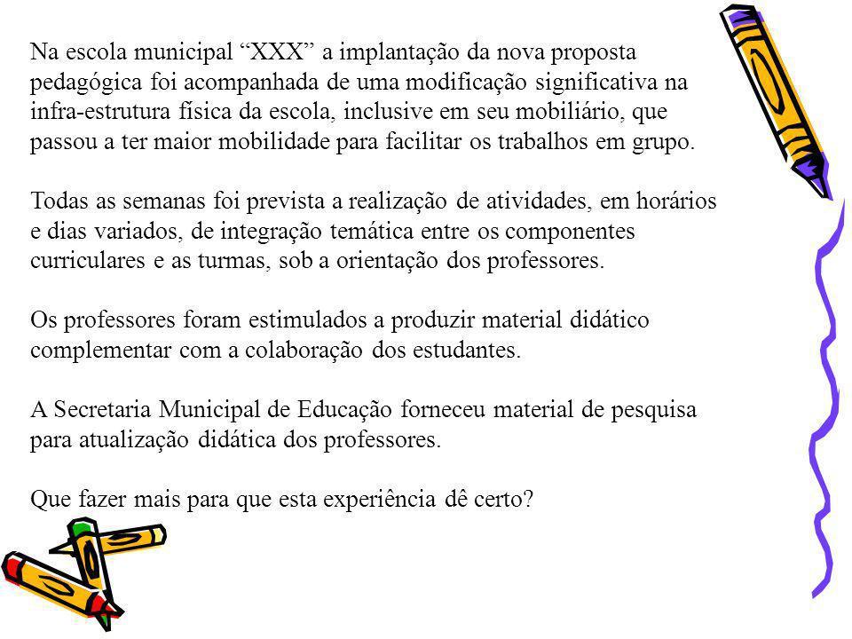 Na escola municipal XXX a implantação da nova proposta