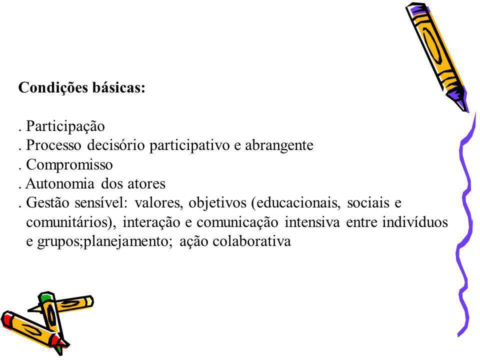 Condições básicas:. Participação. . Processo decisório participativo e abrangente. . Compromisso. . Autonomia dos atores.