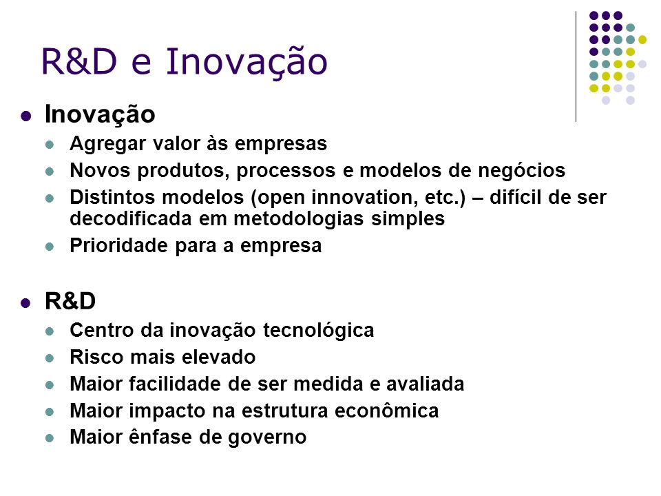 R&D e Inovação Inovação R&D Agregar valor às empresas