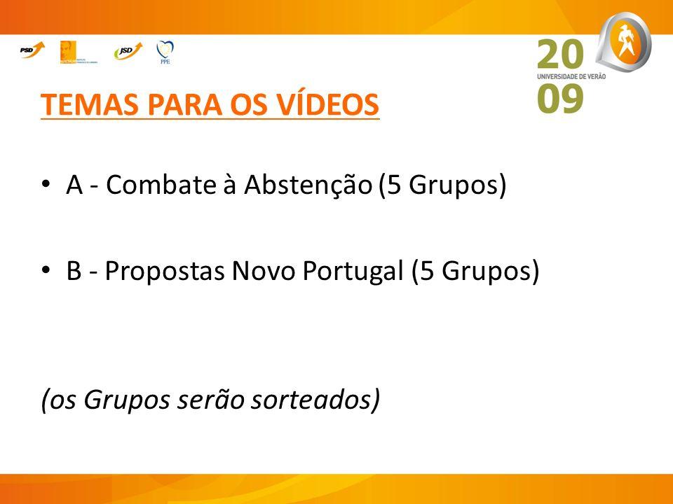TEMAS PARA OS VÍDEOS A - Combate à Abstenção (5 Grupos)