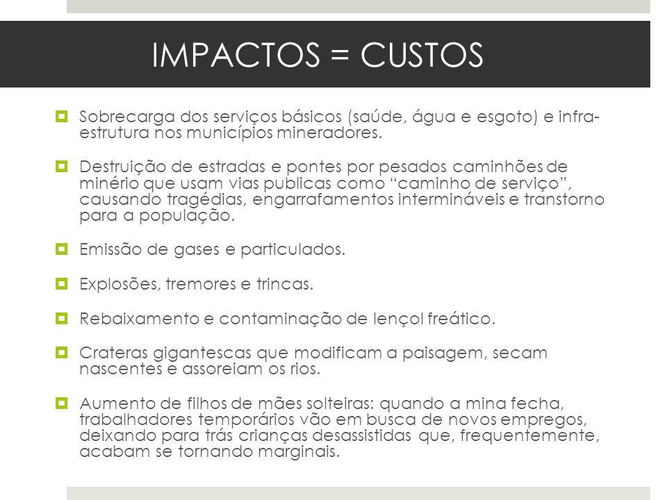 IMPACTOS = CUSTOSSobrecarga dos serviços básicos (saúde, água e esgoto) e infra- estrutura nos municípios mineradores.