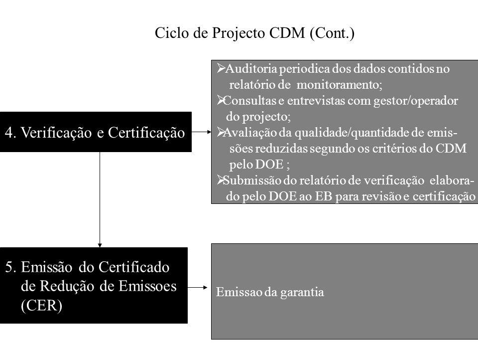 Ciclo de Projecto CDM (Cont.)