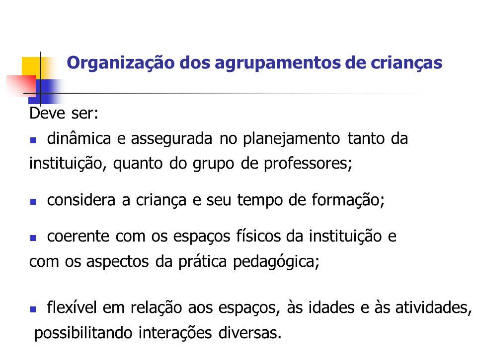Organização dos agrupamentos de crianças