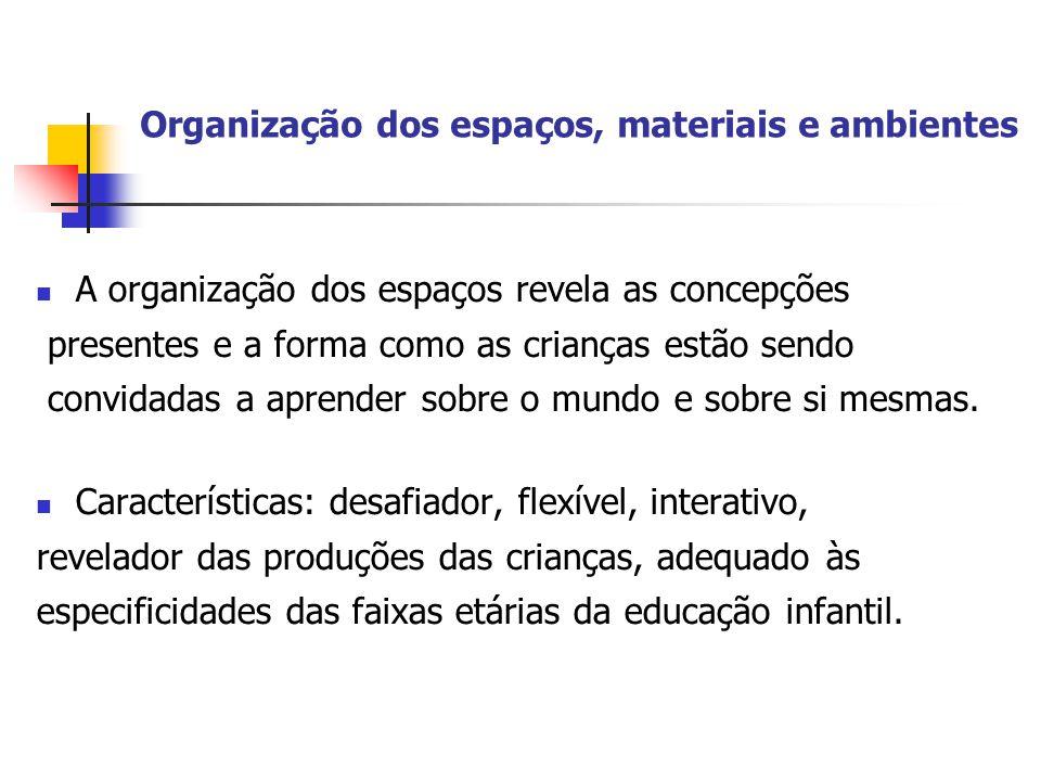 Organização dos espaços, materiais e ambientes
