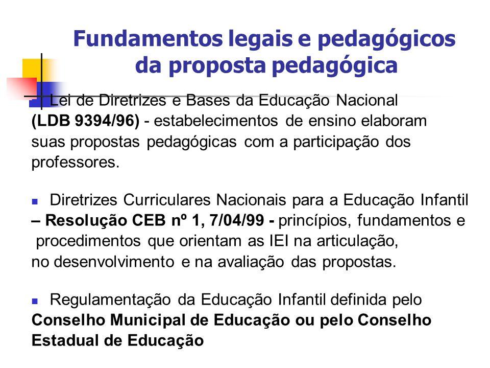 Fundamentos legais e pedagógicos da proposta pedagógica