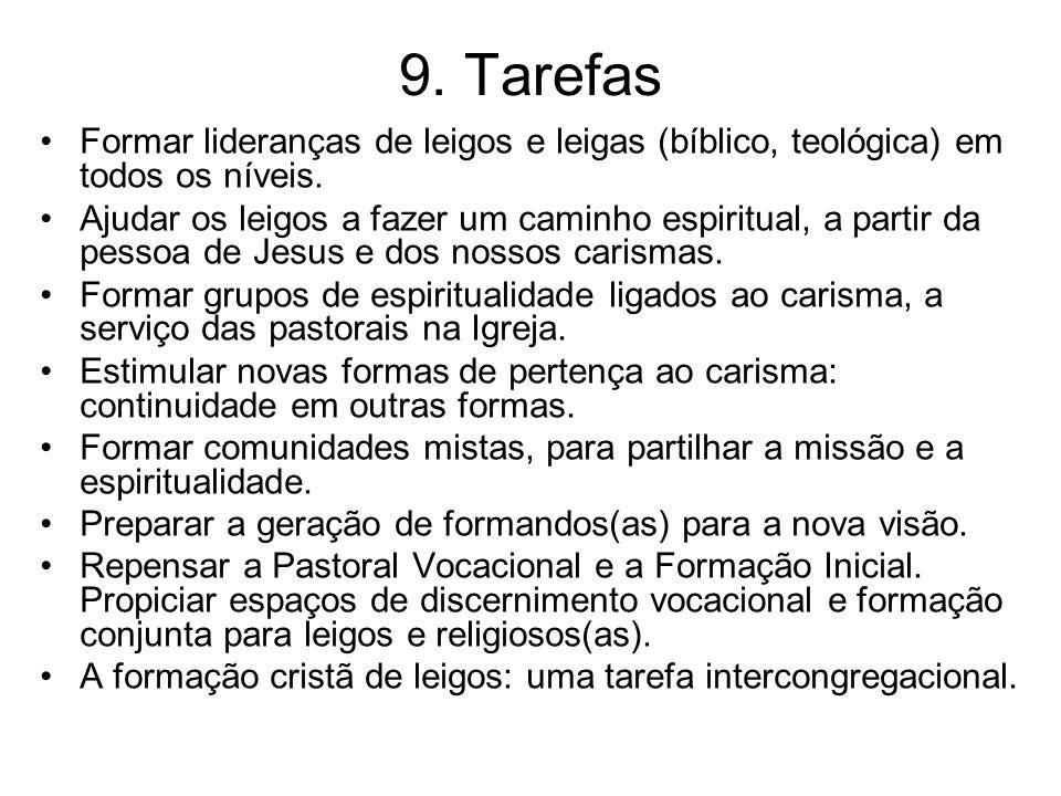 9. Tarefas Formar lideranças de leigos e leigas (bíblico, teológica) em todos os níveis.