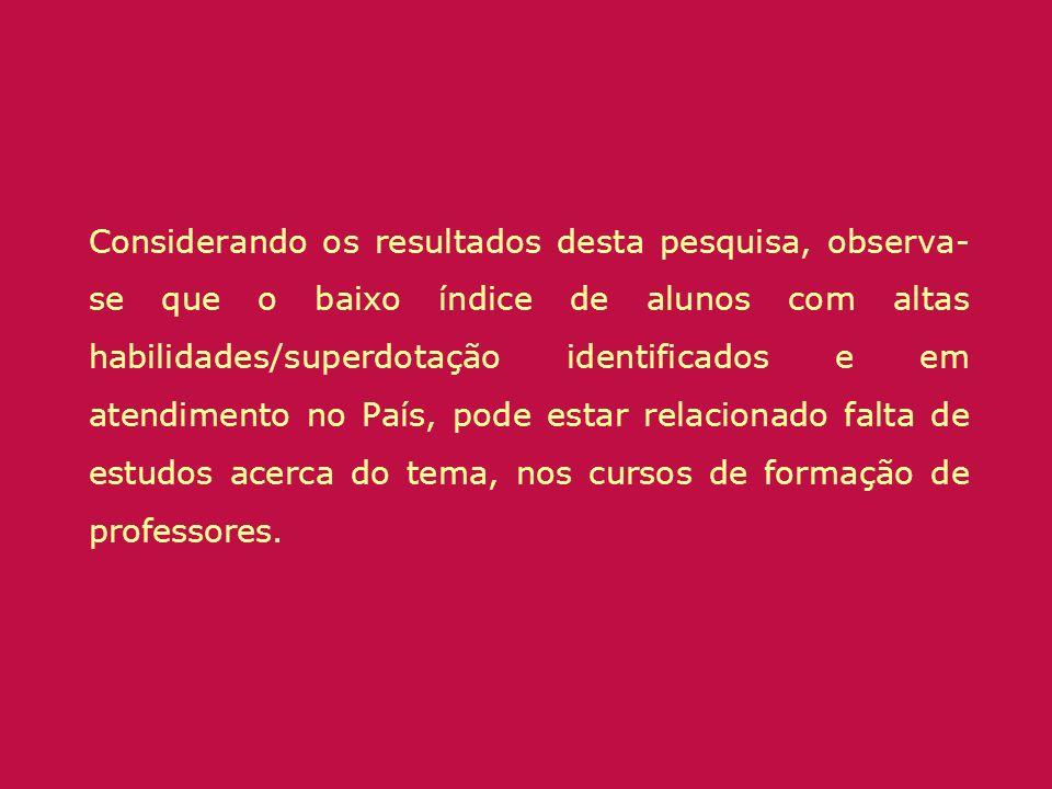 Considerando os resultados desta pesquisa, observa-se que o baixo índice de alunos com altas habilidades/superdotação identificados e em atendimento no País, pode estar relacionado falta de estudos acerca do tema, nos cursos de formação de professores.