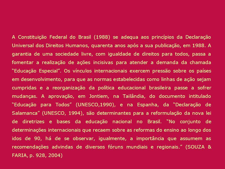 A Constituição Federal do Brasil (1988) se adequa aos princípios da Declaração Universal dos Direitos Humanos, quarenta anos após a sua publicação, em 1988.