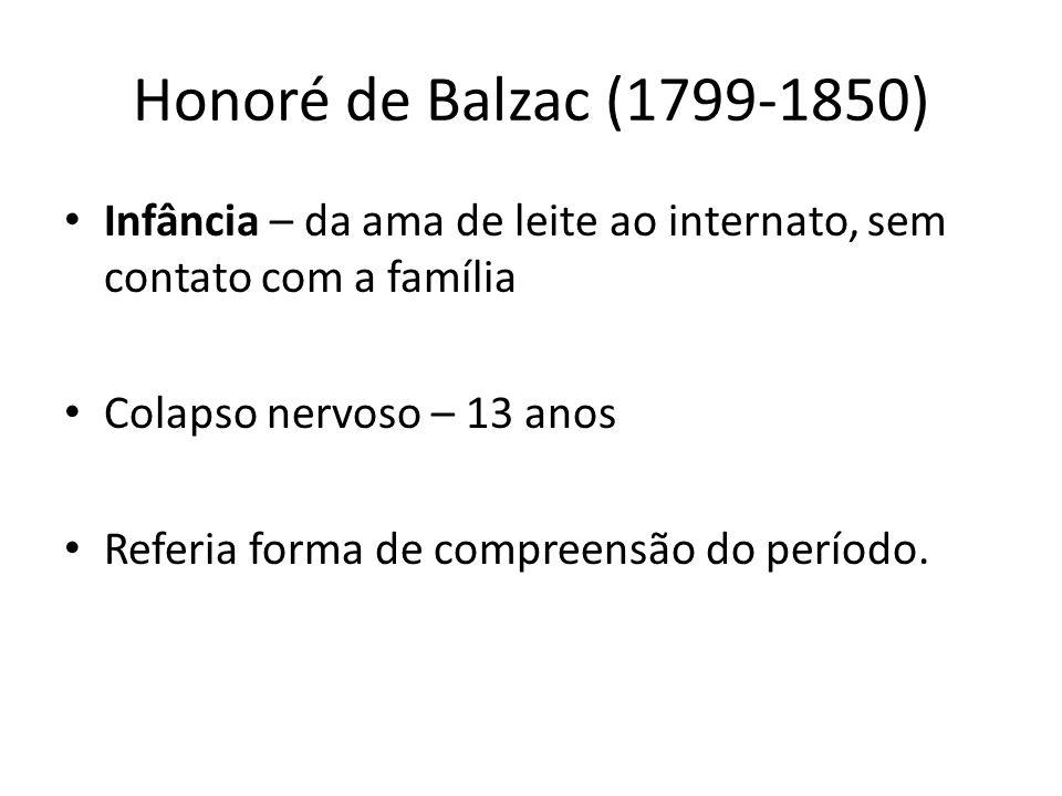 Honoré de Balzac (1799-1850) Infância – da ama de leite ao internato, sem contato com a família. Colapso nervoso – 13 anos.