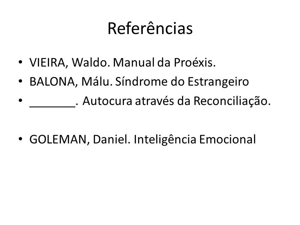 Referências VIEIRA, Waldo. Manual da Proéxis.
