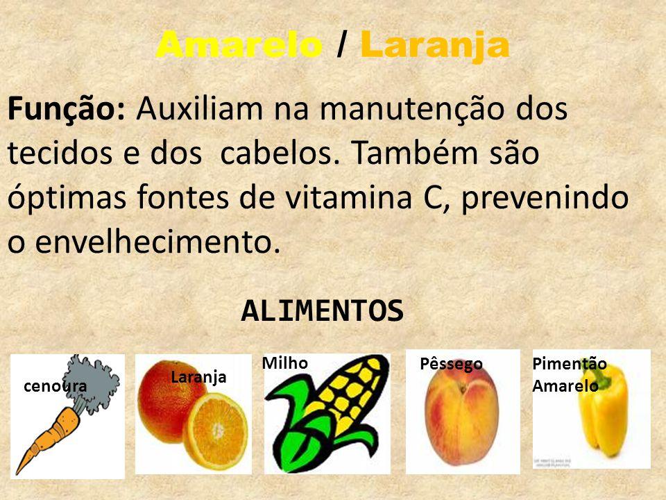 Amarelo / LaranjaFunção: Auxiliam na manutenção dos tecidos e dos cabelos. Também são óptimas fontes de vitamina C, prevenindo o envelhecimento.
