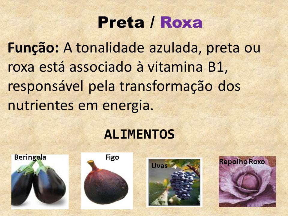 Preta / RoxaFunção: A tonalidade azulada, preta ou roxa está associado à vitamina B1, responsável pela transformação dos nutrientes em energia.