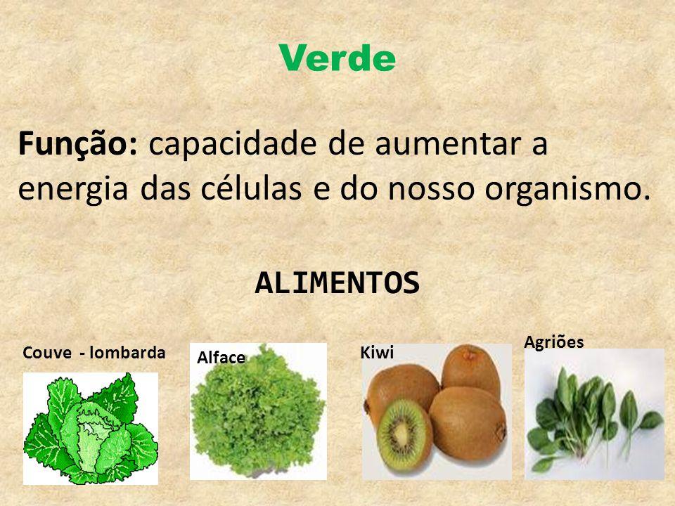 Verde Função: capacidade de aumentar a energia das células e do nosso organismo. ALIMENTOS. Agriões.