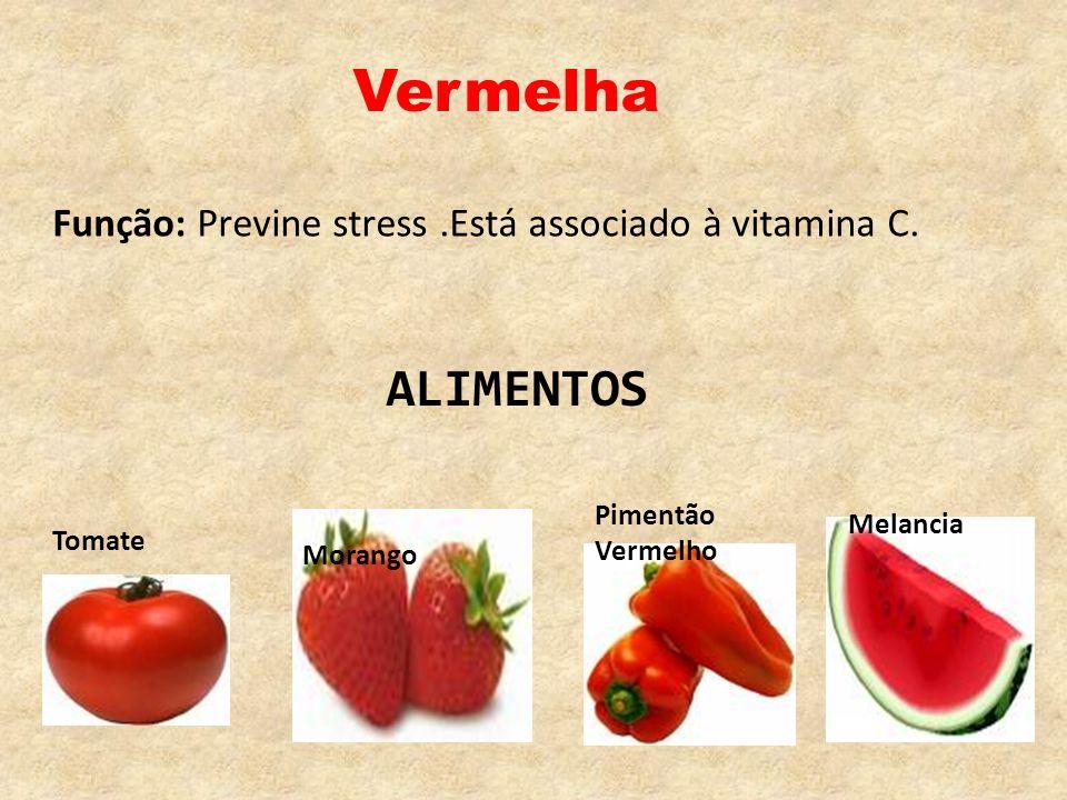 VermelhaFunção: Previne stress .Está associado à vitamina C. ALIMENTOS. Pimentão Vermelho. Melancia.