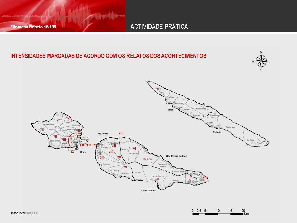 ACTIVIDADE PRÁTICA Filomena Rebelo 15/198. INTENSIDADES MARCADAS DE ACORDO COM OS RELATOS DOS ACONTECIMENTOS.