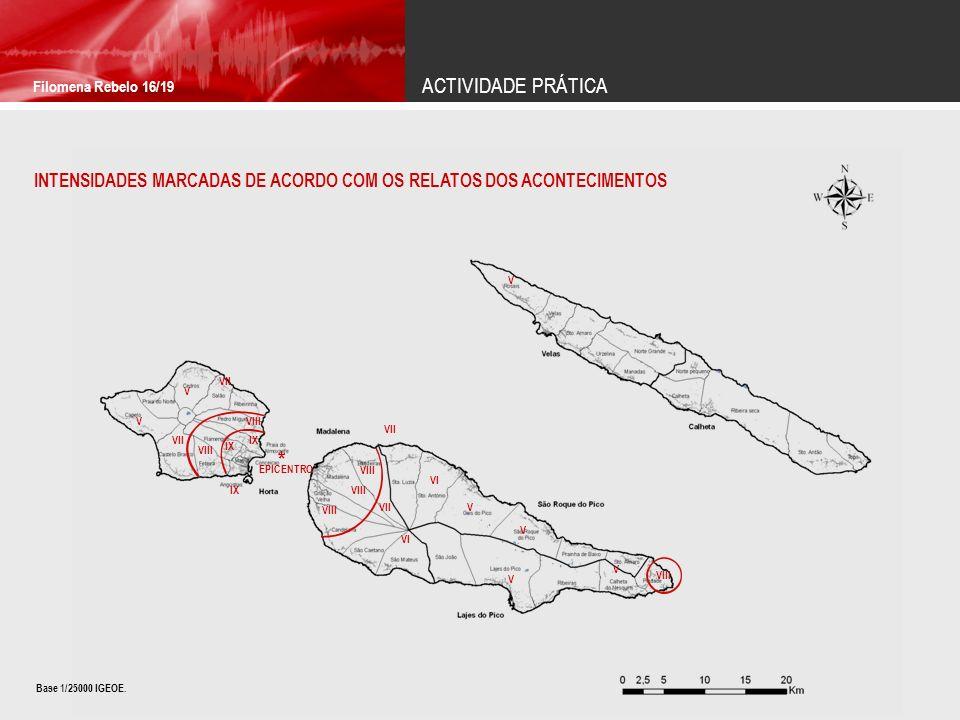 ACTIVIDADE PRÁTICA Filomena Rebelo 16/19. INTENSIDADES MARCADAS DE ACORDO COM OS RELATOS DOS ACONTECIMENTOS.