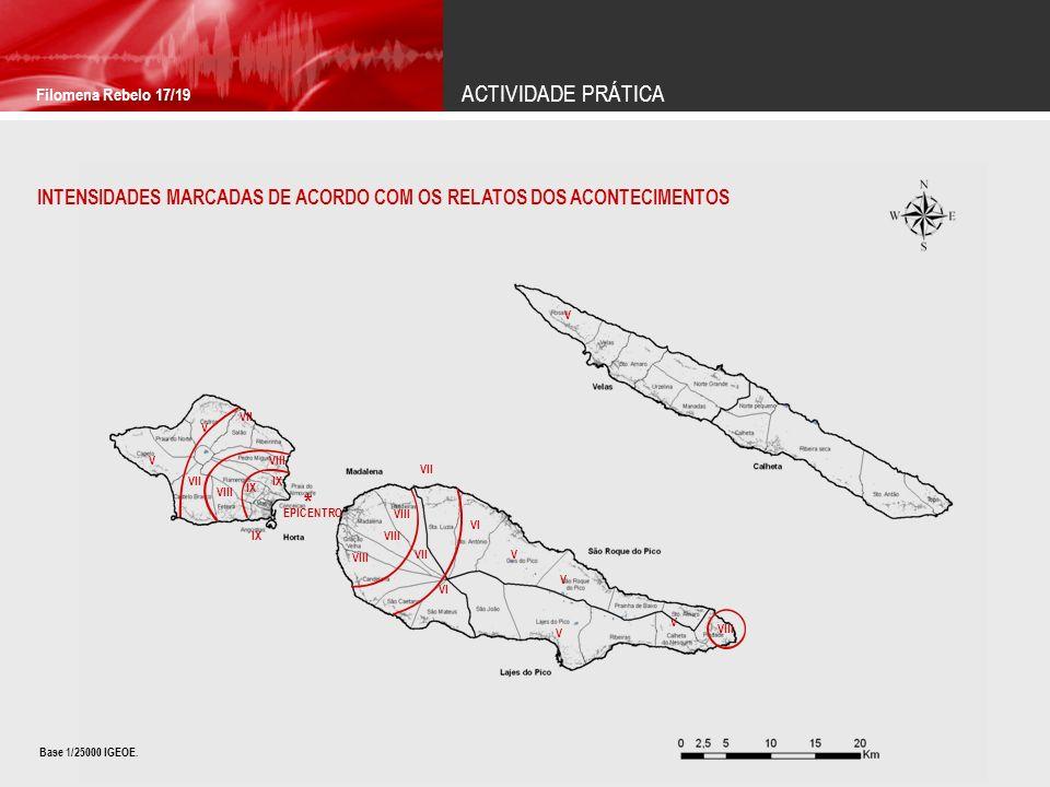 ACTIVIDADE PRÁTICA Filomena Rebelo 17/19. INTENSIDADES MARCADAS DE ACORDO COM OS RELATOS DOS ACONTECIMENTOS.