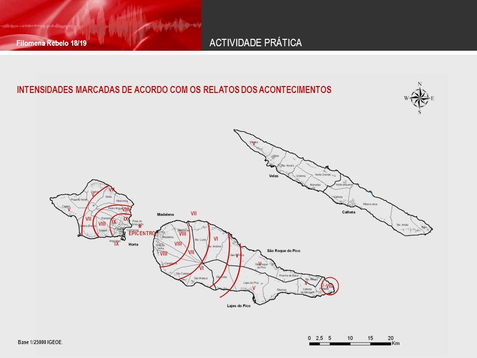 ACTIVIDADE PRÁTICA Filomena Rebelo 18/19. INTENSIDADES MARCADAS DE ACORDO COM OS RELATOS DOS ACONTECIMENTOS.