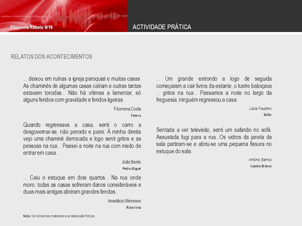 ACTIVIDADE PRÁTICA RELATOS DOS ACONTECIMENTOS