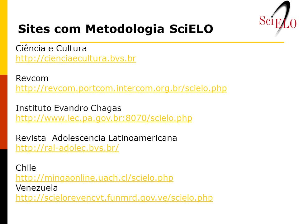 Sites com Metodologia SciELO