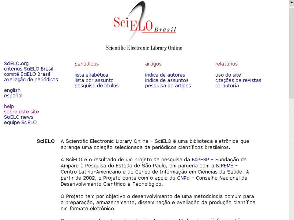 2. Sites SciELOColeções de revistas científicas selecionadas que utilizam a Metodología SciELO.
