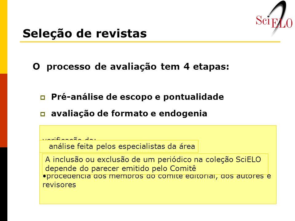 O processo de avaliação tem 4 etapas: