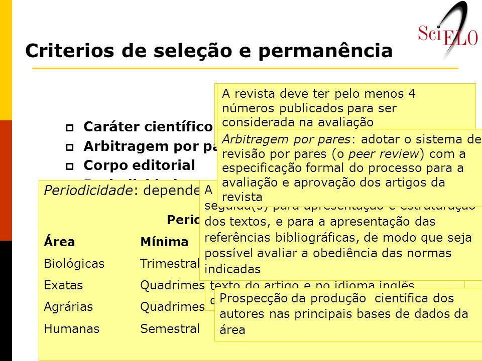 Criterios de seleção e permanência