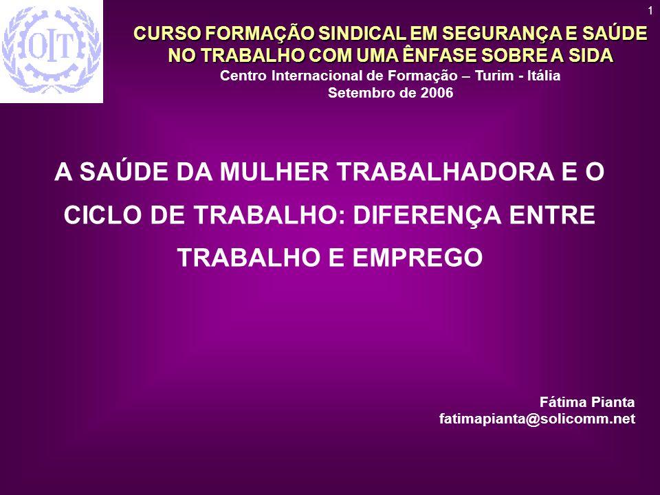 1 A SAÚDE DA MULHER TRABALHADORA E O CICLO DE TRABALHO: DIFERENÇA ENTRE TRABALHO E EMPREGO. Fátima Pianta.