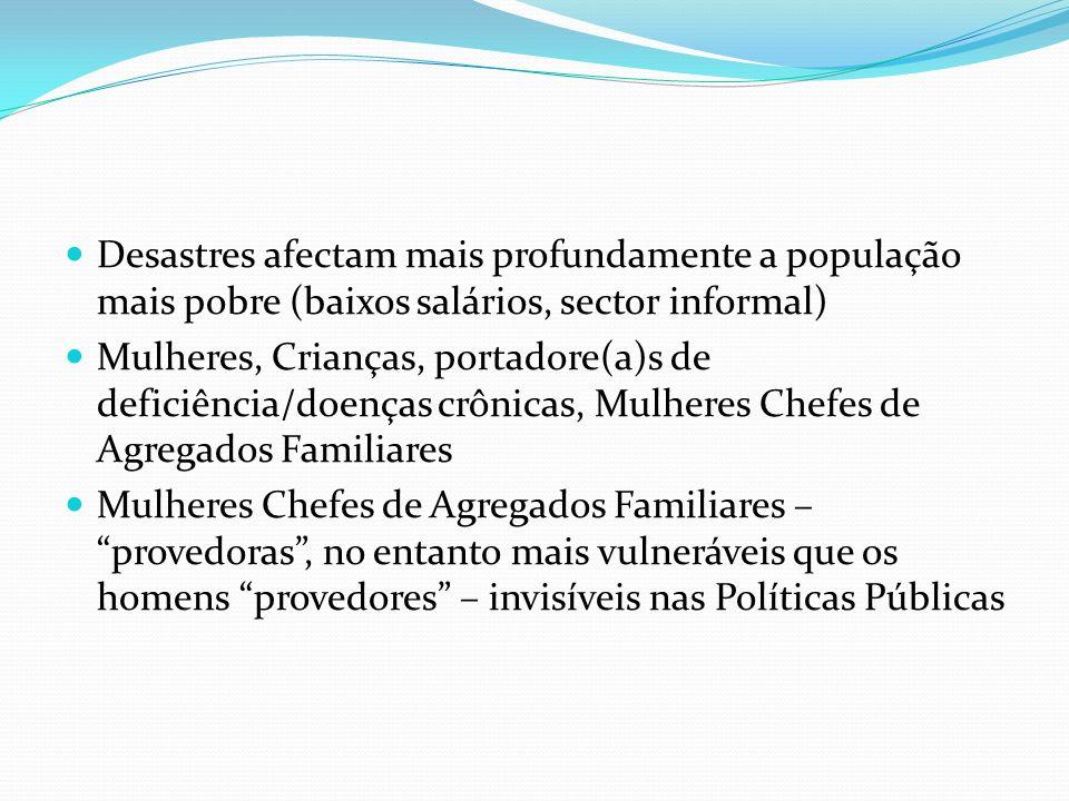 Desastres afectam mais profundamente a população mais pobre (baixos salários, sector informal)